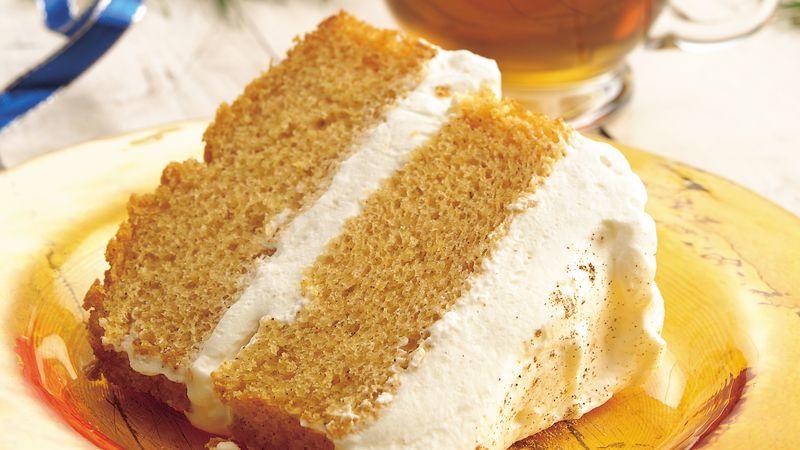 Pumpkin Angel Food Cake with Ginger-Cream Filling