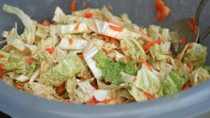 Asian Napa Cabbage Slaw with Peanut Sauce