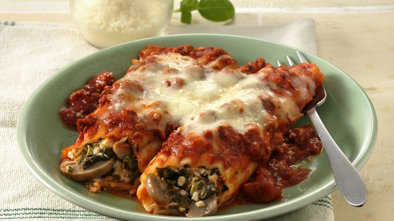 Cheesy Ground Beef Manicotti