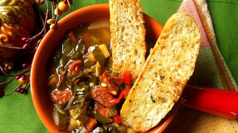 Collard Green Soup with Spanish Chorizo & Potatoes