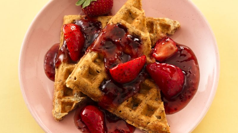 Granola-Whole Wheat Waffles with Double-Berry Sauce