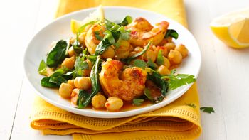 Gluten-Free Harissa Skillet Shrimp with Spinach and Chickpeas