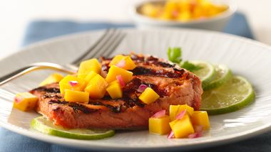 Grilled Ginger-Teriyaki Salmon with Honey-Mango Salsa