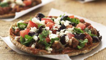 Skinny Mediterranean Beef Pita Pizzas