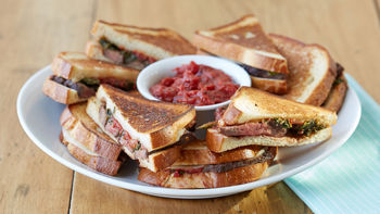 Cheesy Steak and Provolone Sandwiches with Tomato Jam