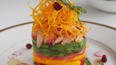 Crab, Avocado, Mango and Crispy Sweet Potato Salad