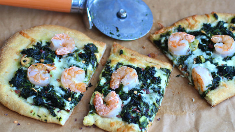 Spinach, Garlic and Shrimp Pizza