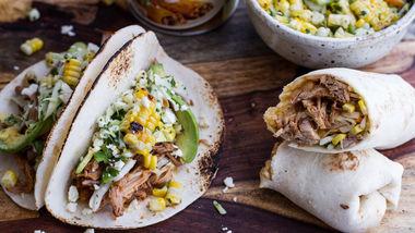 Slow-Cooker Enchilada Pork Tacos with Sweet-Corn Slaw