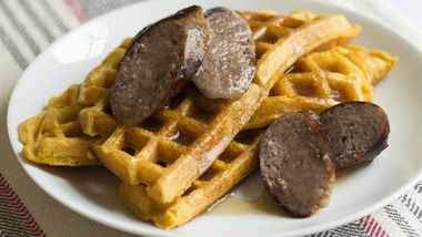 Pumpkin Beer Waffles with Sausage