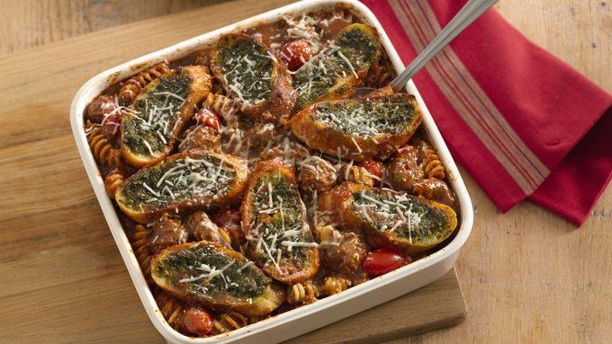Bruschetta-Topped Pasta and Meatballs