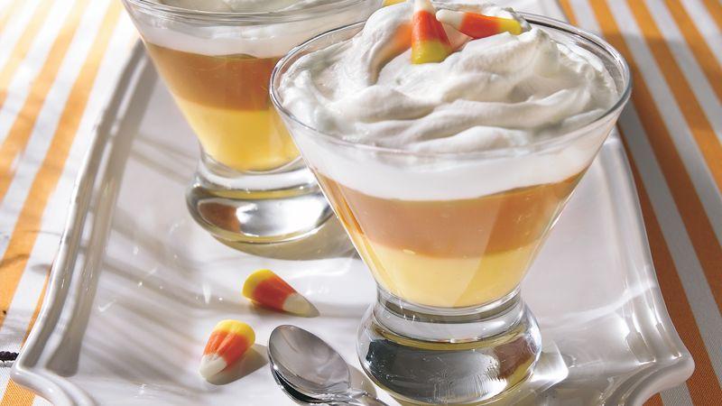 Creamy Candy Corn Puddings recipe from Betty Crocker