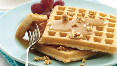 Whole Wheat Waffles with Honey-Peanut Butter Syrup