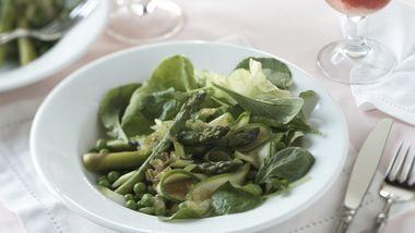 Skinny Spring Vegetable Salad Over Fresh Greens