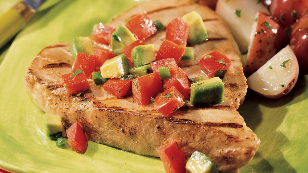 Tuna Steaks with Avocado and Tomato