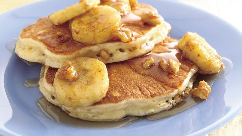 Oatmeal Pancakes with Banana-Walnut Syrup