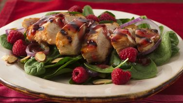 Grilled Chicken and Spinach Salad with Raspberries