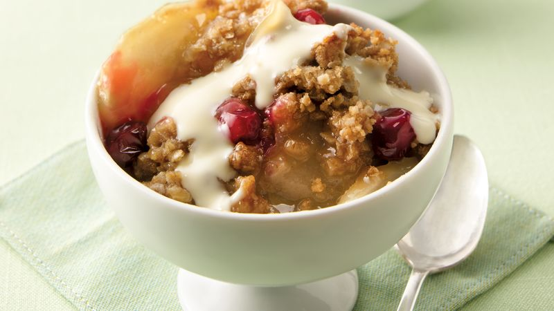 Berry Crisp with Eggnog Sauce