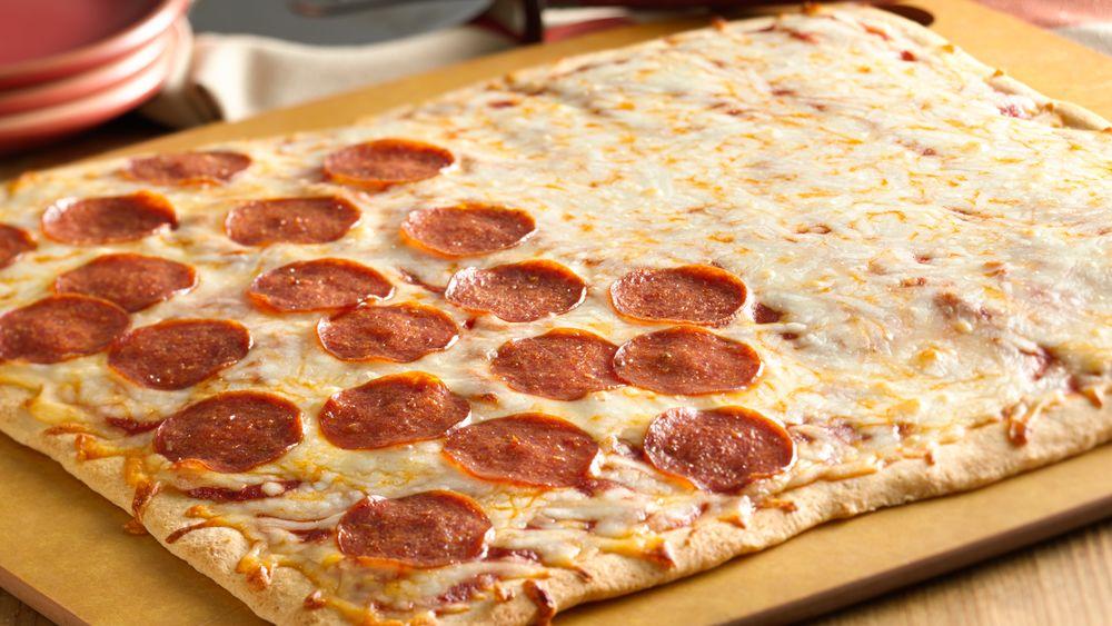 Half and Half Pepperoni Pizza