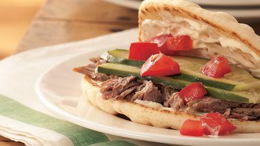 Slow-Cooker Greek Pork Sandwiches