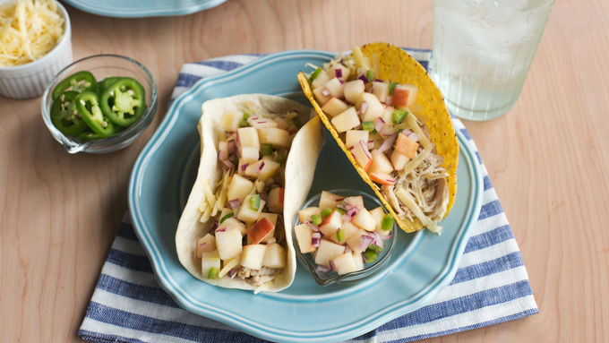 Slow-Cooker Cider-Braised Chicken Tacos with Apple Jalapeño Salsa