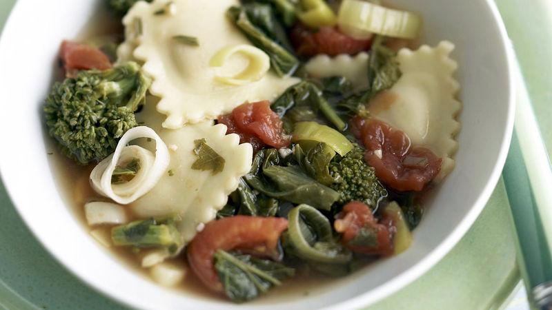 Skinny Broccoli Rabe and Ravioli