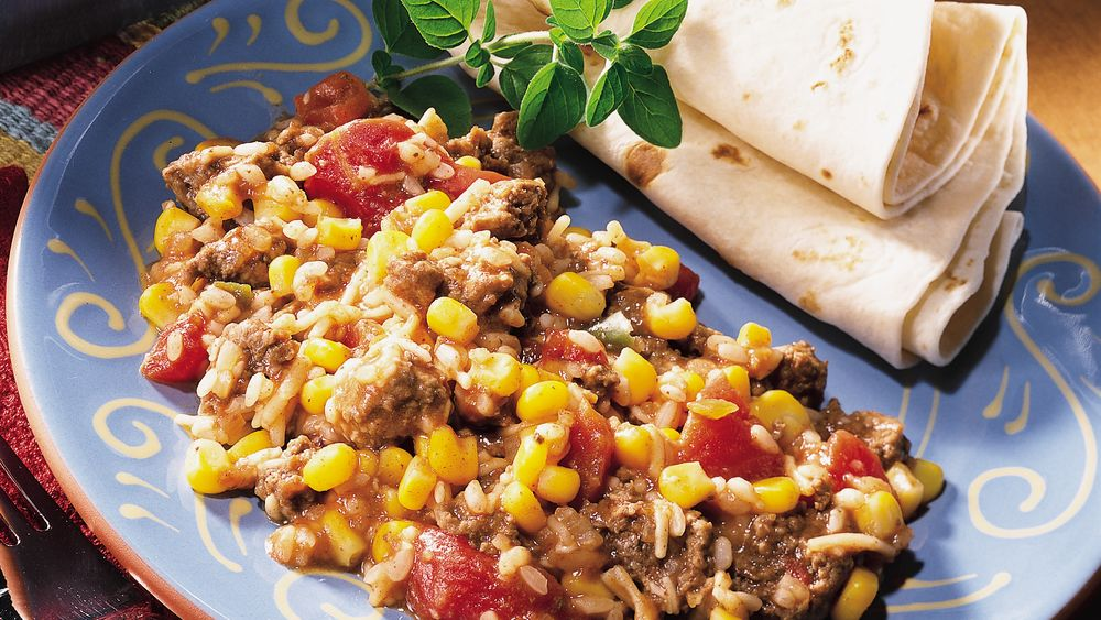 South-of-the-Border Beef and Rice Bake