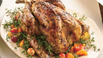 Roast Turkey with Fresh Thyme Rub and Maple Glaze