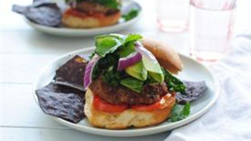 Turkey Quinoa Burgers with Sautéed Kale