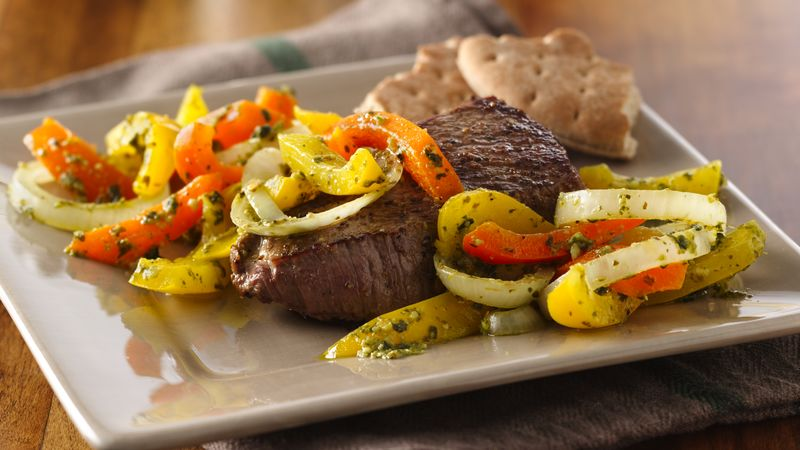 Steak and Peppers in Chimichurri Sauce