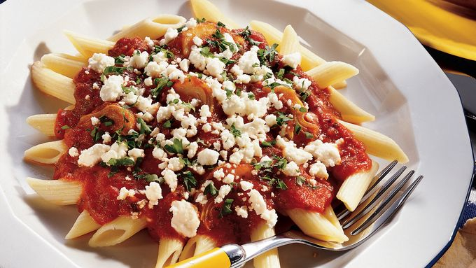 Penne with Artichoke Sauce and Feta