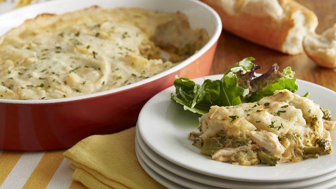 Potato-Topped Cheesy Broccoli-Chicken Casserole