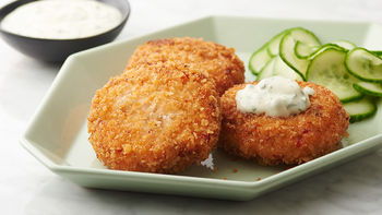 Salmon Cakes with Creamy Caper Mustard Sauce