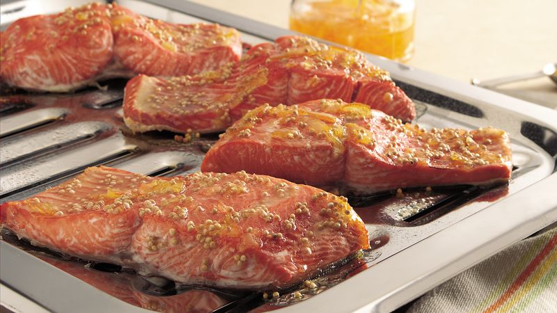Broiled Salmon with Orange-Mustard Glaze