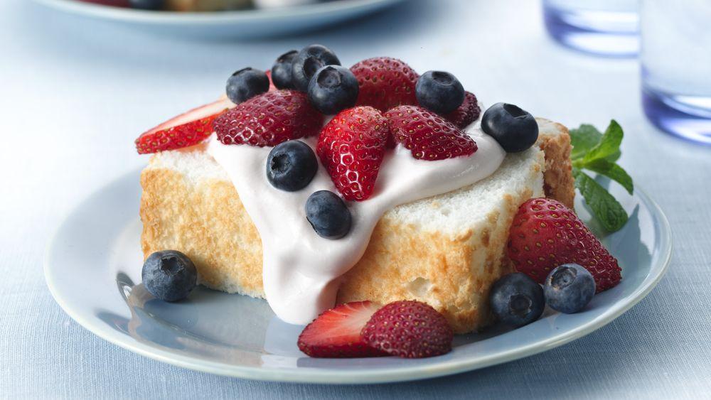Strawberry Cream Angel Food Cake