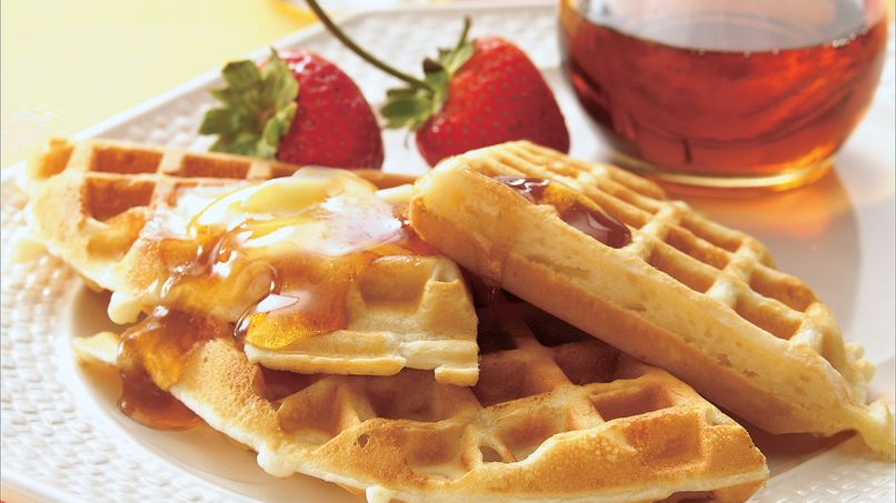 Whole Wheat Waffles with Cider Syrup