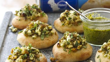 Walnut Pesto Bruschetta Bites