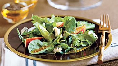 Spinach Celery Salad with Mustard Vinaigrette
