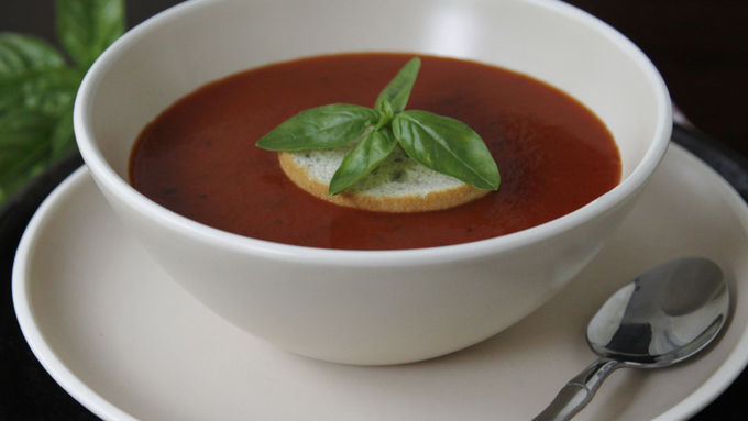Dressed-Up Tomato Basil Soup