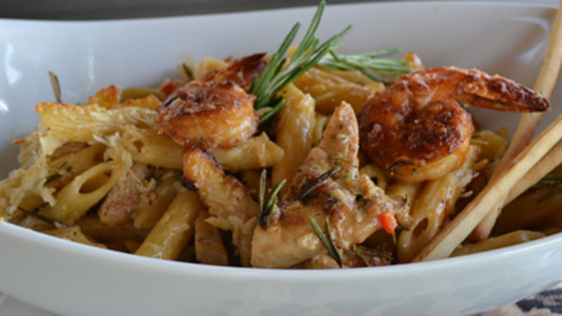 Surf and Turf Baked Pasta