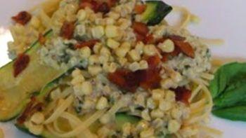 Linguine and Zucchini with Bacon Corn Pesto