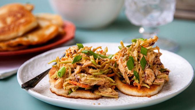 Easy Thai Chicken Salad with Scallion Pancakes