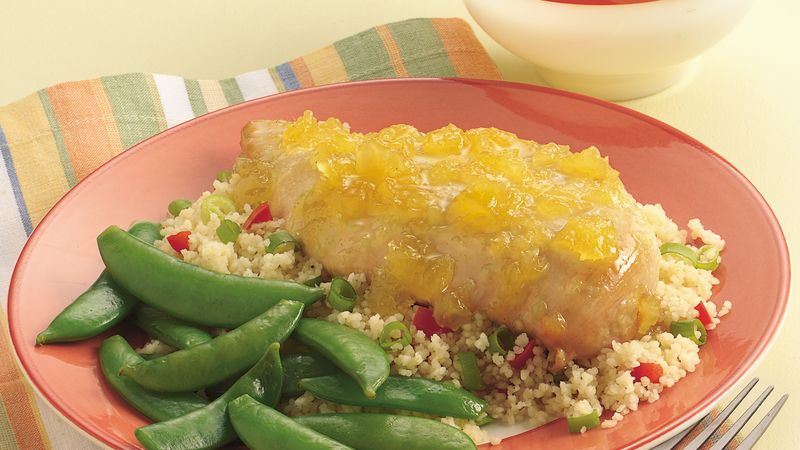 Pineapple-Glazed Chicken Breasts with Couscous Pilaf
