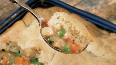 Turkey Pot Pie with Potato Biscuit Crust
