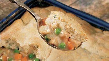 Turkey Pot Pie with Potato Biscuit Crust