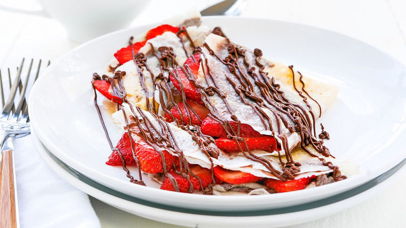 Crepes con Chocolate y Fresas