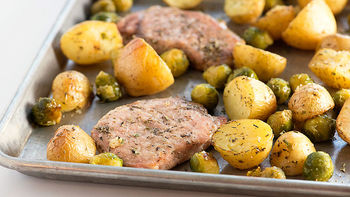 Sheet Pan Pork Chops with Brussels Sprouts and Potatoes