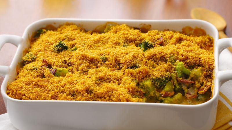 Broccoli-Bacon Casserole with Cheesy Mustard Sauce