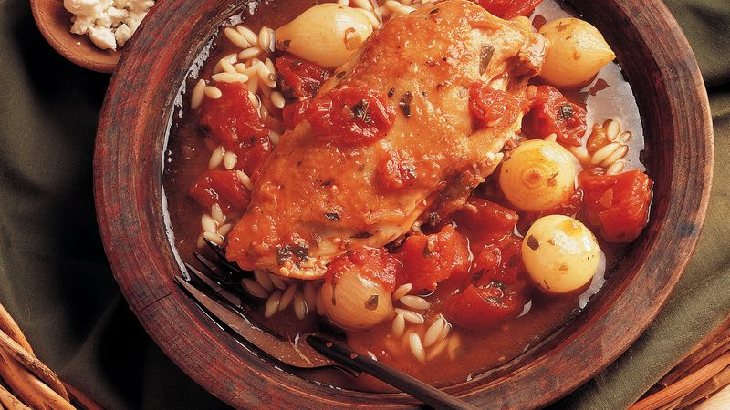 Tomato-Feta Chicken with Orzo