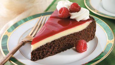 Raspberry-Glazed Double Chocolate Dessert