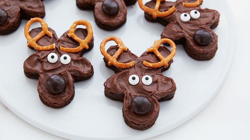Easy Frosted Reindeer Brownies